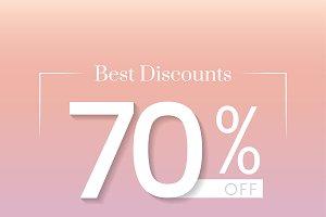 70 percent off best discounts vector