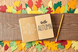 """flat lay with """"hello autumn"""" letteri"""