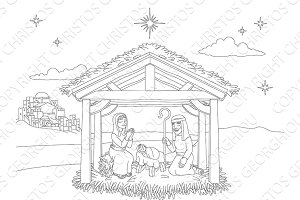Nativity Christmas Scene Coloring