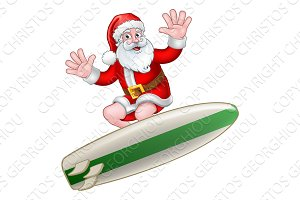 Santa Claus Surfing Christmas
