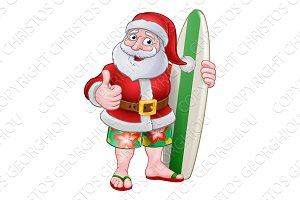 Santa Claus Surf Christmas Cartoon
