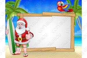Santa Claus Surf Beach Christmas