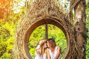 Traveler honeymoon couple in