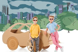 stylish children in sunglasses posin