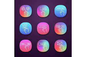 Click buttons icons set