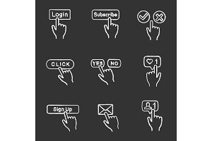 App buttons chalk icons set