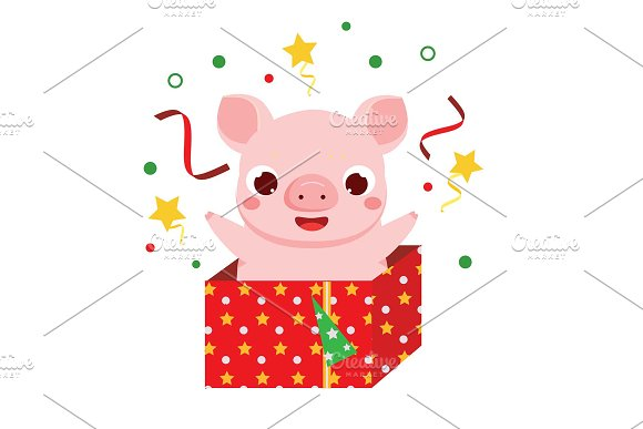 2019 Chinese New Year Pig Icons Creative Market