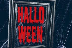 black frame in spider web, creepy de