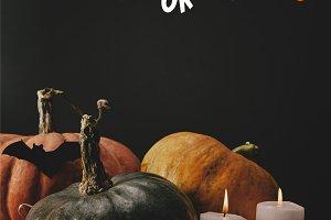 pumpkins, black paper bat and candle