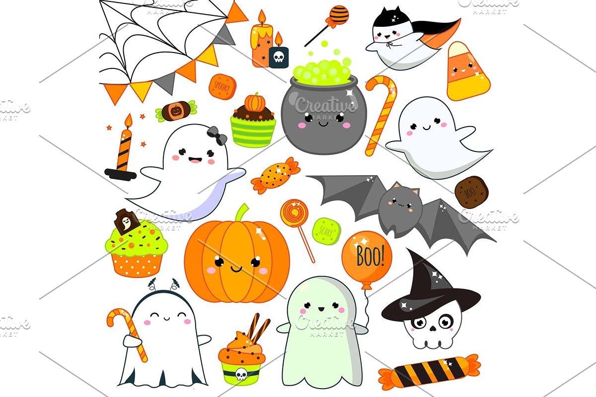 Cute kawaii Halloween icons  vector