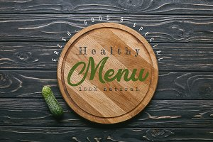 "Cutting board with ""healthy menu"" le"