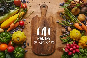"Cutting board with ""eat healthy"" let"