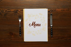 top view of Menu with fork and knife