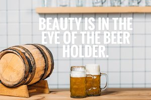 selective focus of beer barrel and t