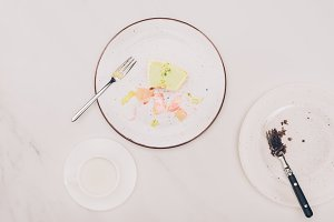 top view of pieces of cake on plates