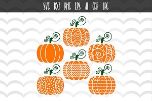 6 Halloween pumpkin Designs Cut File