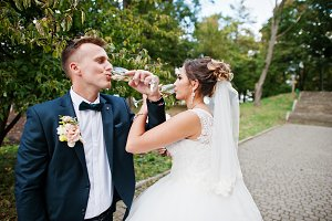 Happy newlyweds drinking champagne o