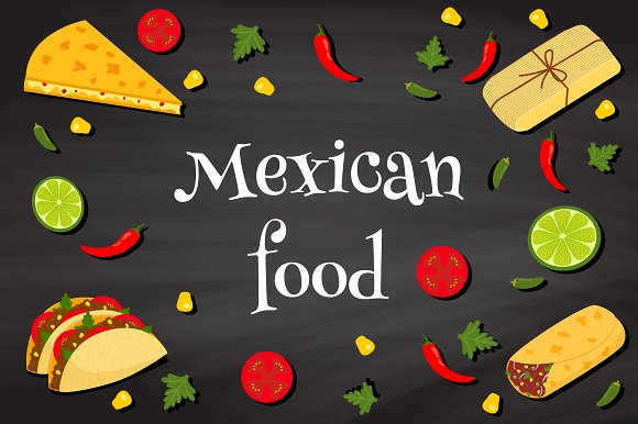 Mexican food vector illustration set ~ Illustrations ...