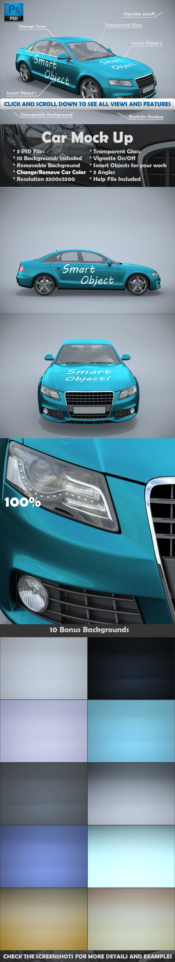 Car Mockups 3 Views - Product Mockups - 1