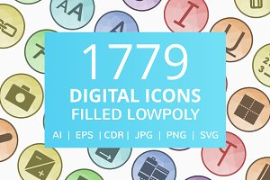 1779 Digital Filled Low Poly Icons