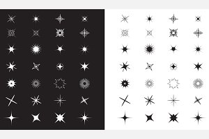 Stars Sparkles sign symbol big set.