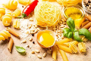 Healthy raw ingredients for italian