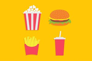 French fries. Popcorn. Burger. Soda