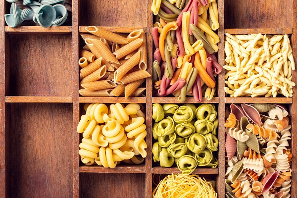 Food Stock Photos: Iryna Melnyk Photography - Assorted colorful italian pasta in