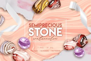 Semiprecious stone watercolor PNG