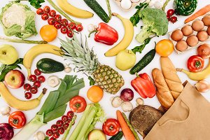 top view of vegetables and fruits an