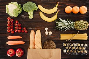 top view of vegetables and fruits wi