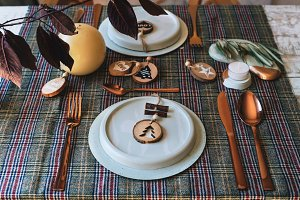 Christmas copper table setting, dish