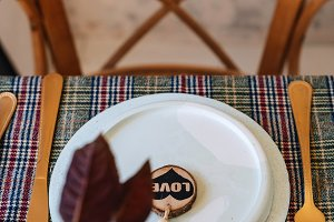 Christmas copper table setting, deco