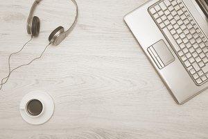 headphones, laptop and coffee.