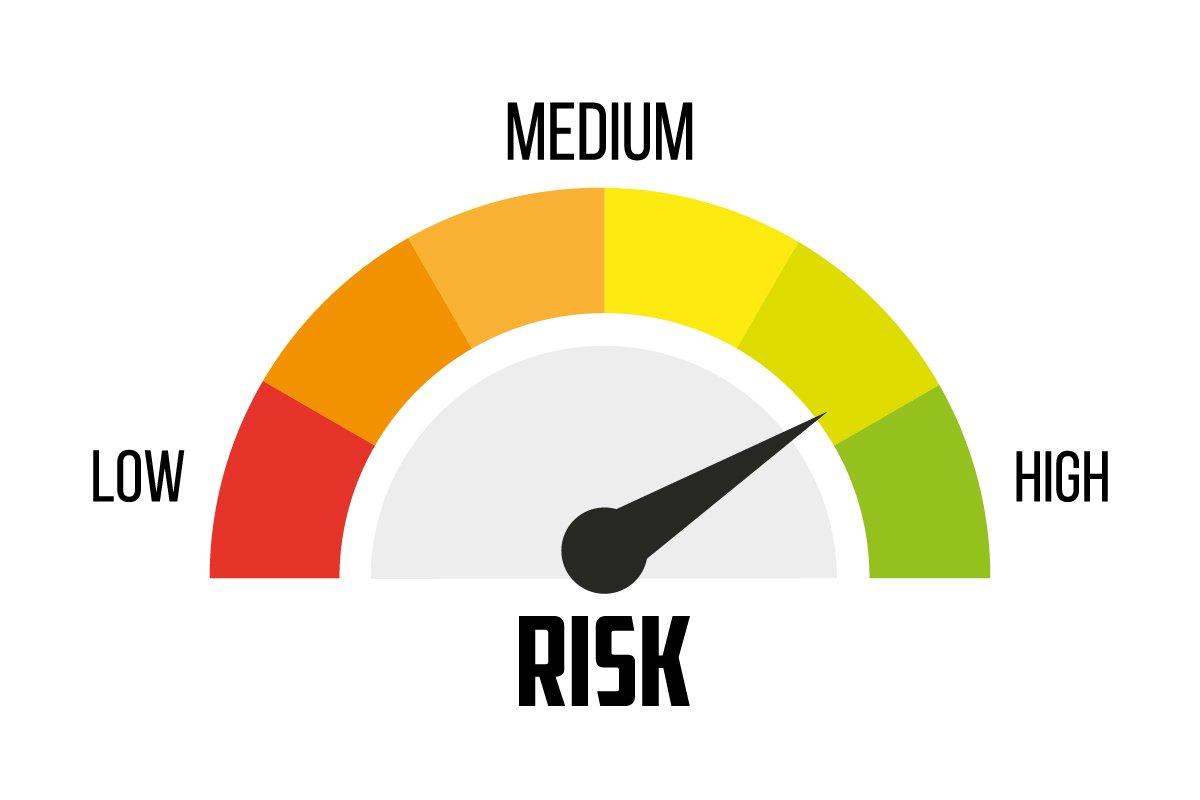 Risk concept on speedometer  Vector