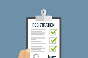 Man hold registration clipboard flat