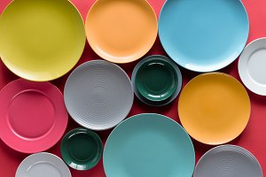 Shiny colorful kitchen ceramic plate