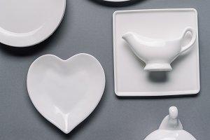 White tableware for dinner time on g