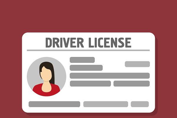 Flat woman driver license