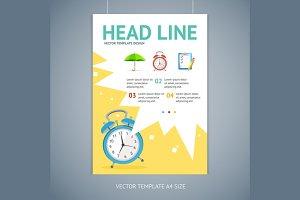 Vector wakeup clock brochure flyer
