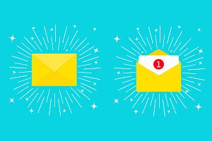 Unread mail notification. Email icon