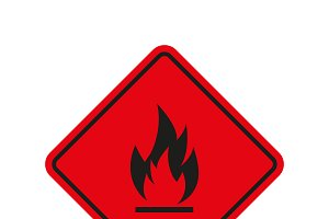 Red fire sign on white