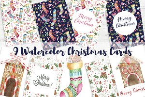 9 Watercolor Christmas Cards