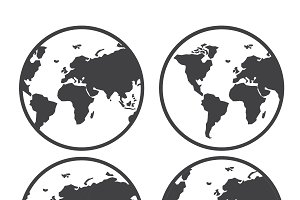 Globe world map vector icon