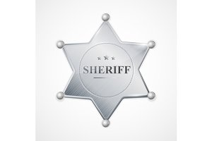 Vector sheriff badge star set