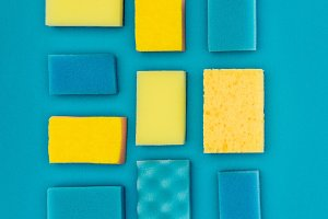 top view of yellow and blue washing