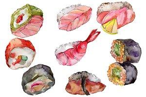 Watercolor sushi PNG watercolor set