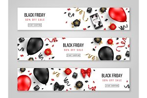 Black Friday white banners