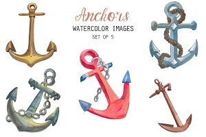 Watercolor anchors clipart