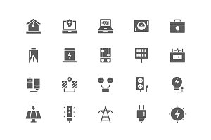 Set of energy and electricity icons